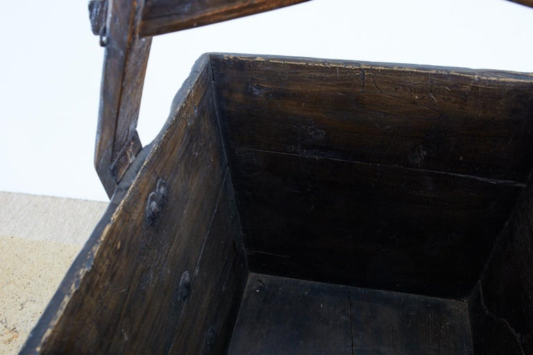 20th Century Chinese Elm Grain Bucket with Handle For Sale