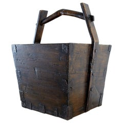 Chinese Elm Grain Bucket with Handle