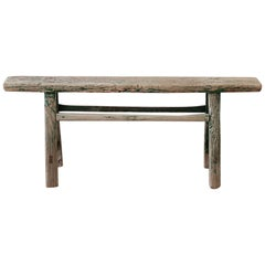 Antique Asian Elm Wood Bench with Faded Green Paint