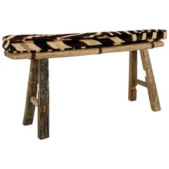 Chinese Elmwood Bench with Zebra Cushion
