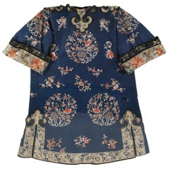 Chinese Embroidered Blue Silk Robe in a Plexiglass Box, Qing Dynasty