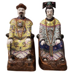 Chinese Emperor and Empress Large Scale Porcelain Figures
