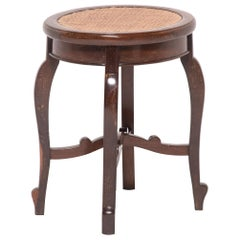 """Chinese """"En Pointe"""" Round Stool with Cane Seat, circa 1900"""