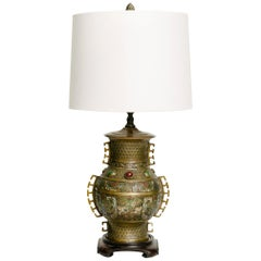 Chinese Enamel and Brass Lamp