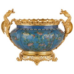 Chinese Enamel and French Gilt Bronze Chinoiserie Jardinière