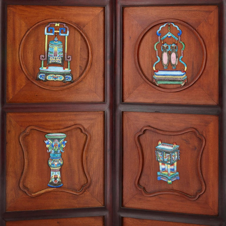 Enameled Chinese Enamel and Silver Mounted Six-Panel Screen For Sale