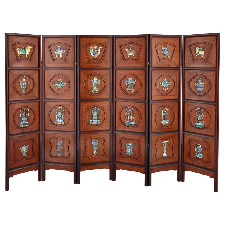 Chinese Enamel and Silver Mounted Six-Panel Screen For Sale