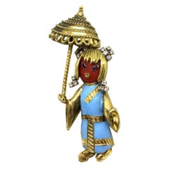 Chinese Umbrella Doll Coral Diamond Turquoise Enamel Gold Brooch