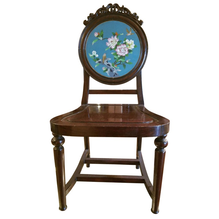 Chinese Enameled Back Hall Chair For Sale
