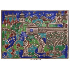 Chinese Enameled Brass Pictorial Footed Dresser Box, Courting Scene