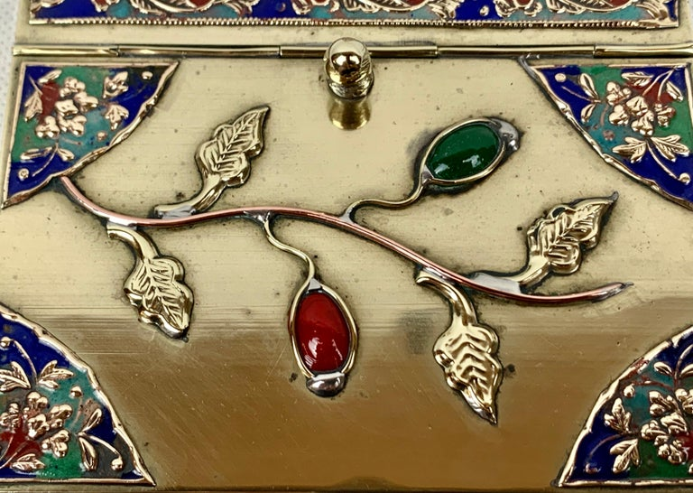 Chinese Brass Silent Butler with Handle in Jewel Toned Enamels For Sale 4