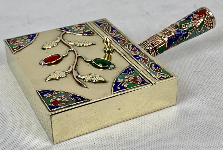 Chinoiserie Chinese Brass Silent Butler with Handle in Jewel Toned Enamels For Sale