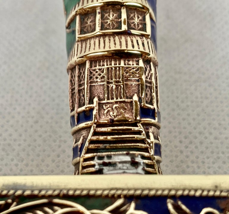 20th Century Chinese Brass Silent Butler with Handle in Jewel Toned Enamels For Sale