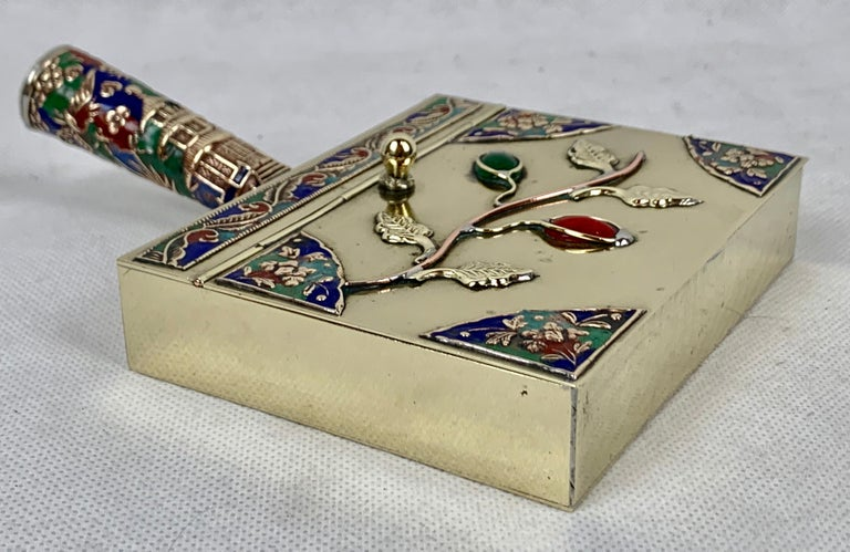 Chinese Brass Silent Butler with Handle in Jewel Toned Enamels For Sale 3