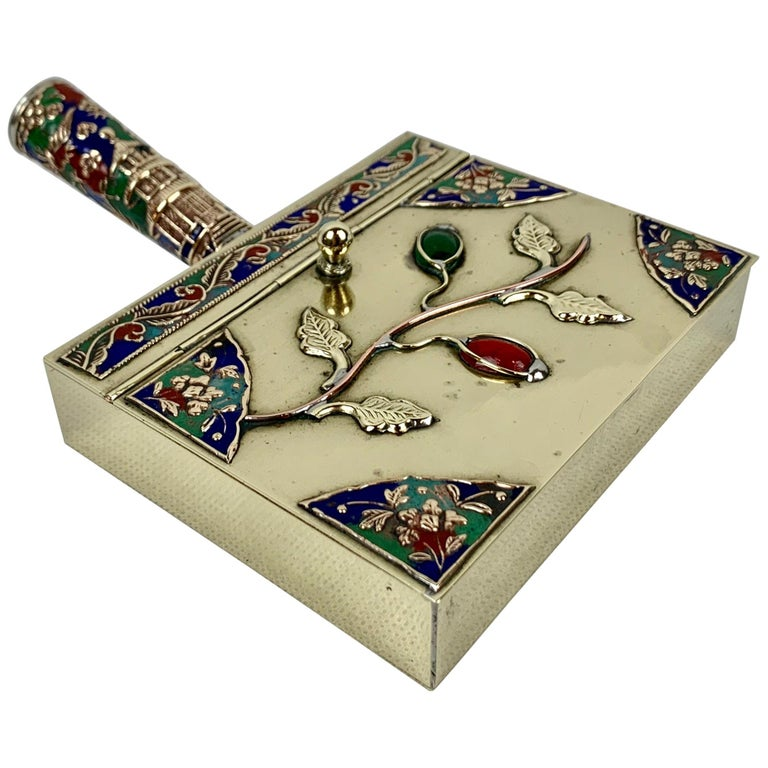 Chinese Brass Silent Butler with Handle in Jewel Toned Enamels For Sale