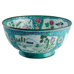 Chinese Enameled Copper Bowl