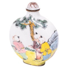 Chinese Enameled Copper Snuff Bottle with Boys Playing