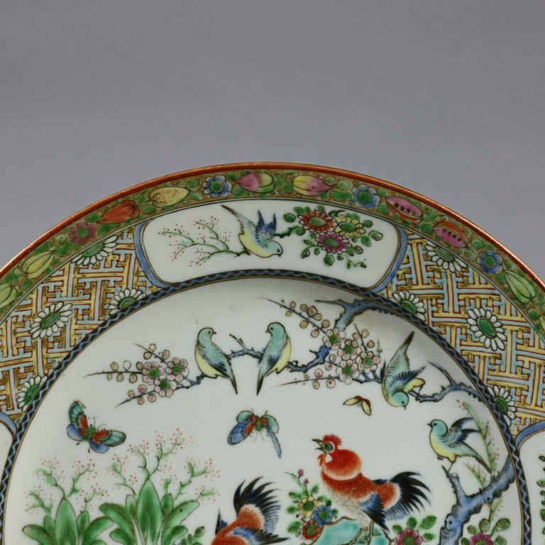 Chinese Enameled Imari Pictorial Rooster & Garden Scene Porcelain Plates In Good Condition For Sale In Big Flats, NY