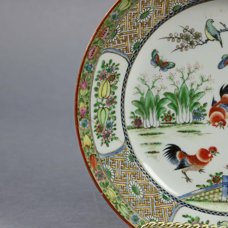 19th Century Chinese Enameled Imari Pictorial Rooster & Garden Scene Porcelain Plates For Sale
