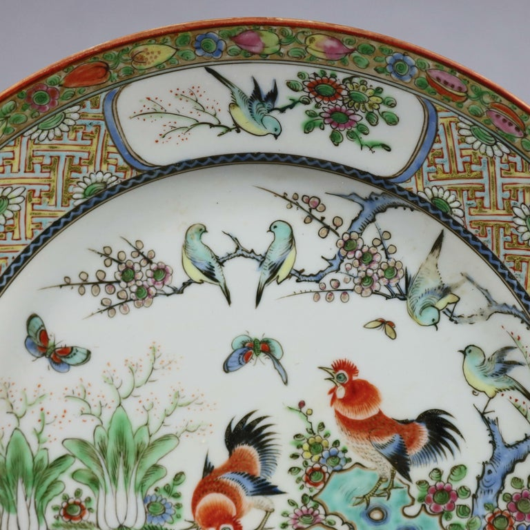 Ceramic Chinese Enameled Imari Pictorial Rooster & Garden Scene Porcelain Plates For Sale