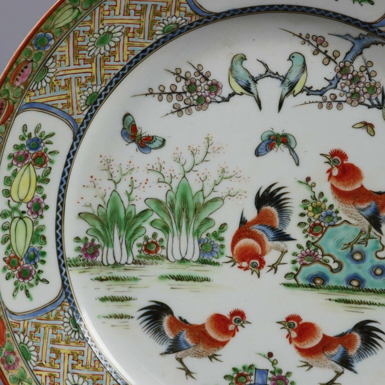 Chinese Enameled Imari Pictorial Rooster & Garden Scene Porcelain Plates For Sale 1