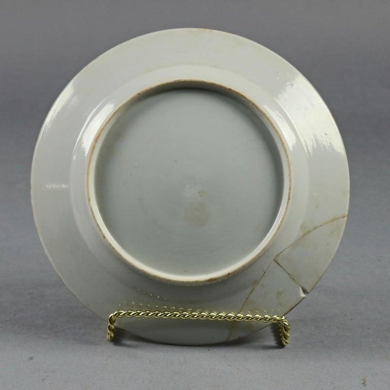 Chinese Enameled Imari Pictorial Rooster & Garden Scene Porcelain Plates For Sale 3