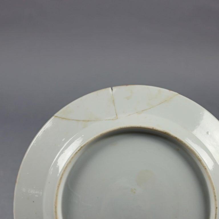 Chinese Enameled Imari Pictorial Rooster & Garden Scene Porcelain Plates For Sale 4