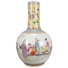 Chinese Enameled Porcelain Pictorial Vase, Chop Mark Signed and Verbiage
