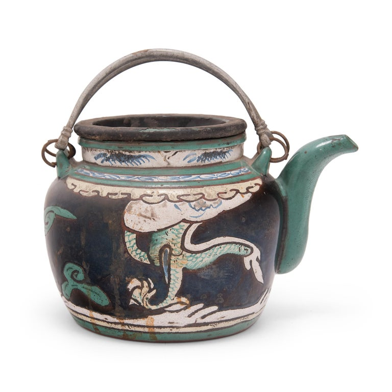 Qing Chinese Enamelware Teapot with Twin Dragons, c. 1900 For Sale