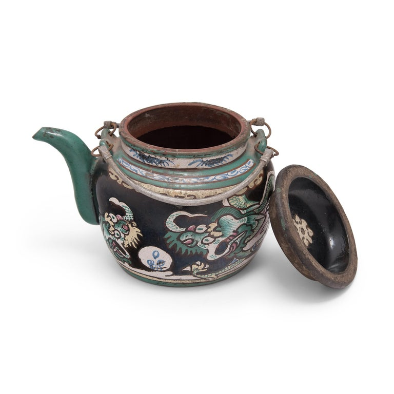 20th Century Chinese Enamelware Teapot with Twin Dragons, c. 1900 For Sale