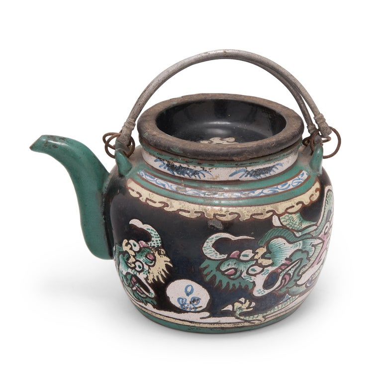 Brass Chinese Enamelware Teapot with Twin Dragons, c. 1900 For Sale