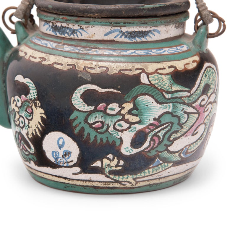 Chinese Enamelware Teapot with Twin Dragons, c. 1900 For Sale 1