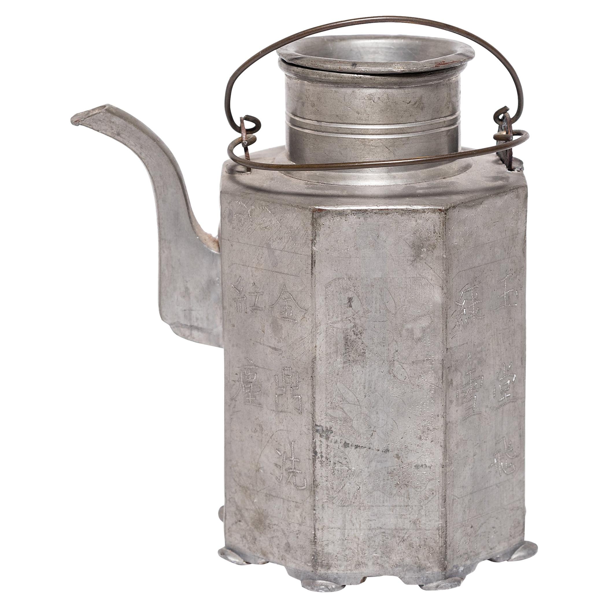Chinese Etched Pewter Teapot, c. 1910-1920
