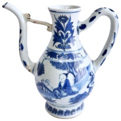Chinese Ewer, Figures Fanning Themselves, Chongzhen Transitional, circa 1640