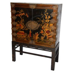 English 19th Century Black Lacquered Japanned Cabinet, Naturalistic Decoration