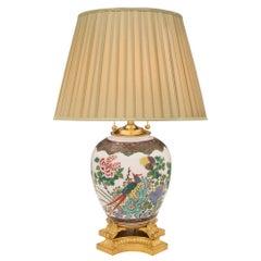 Chinese Export 19th Century Famille Verte Porcelain Lamp