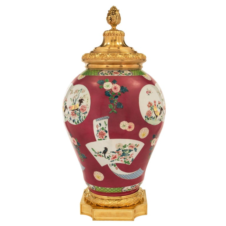 Louis XVI Chinese Export 19th Century Porcelain Urn For Sale
