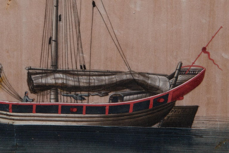 Hand-Painted Chinese Export Antique Gouache Painting on Silk of a Merchant Sailing Ship For Sale