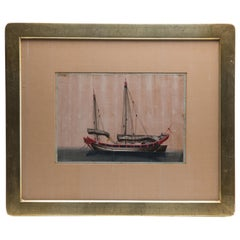 Chinese Export Antique Gouache Painting on Silk of a Merchant Sailing Ship