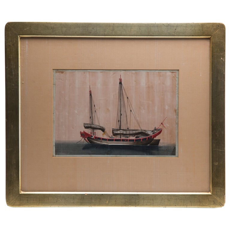 Chinese Export Antique Gouache Painting on Silk of a Merchant Sailing Ship For Sale