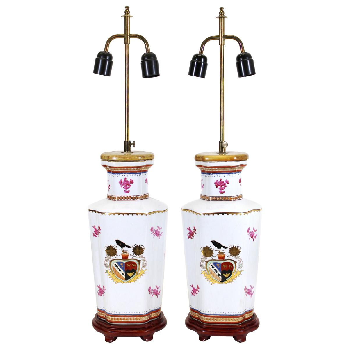Chinese Export Armorial Porcelain Vase Table Lamps