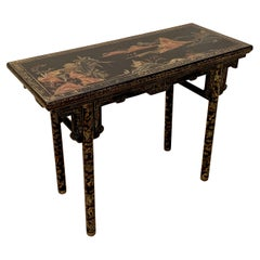 Chinese Export Black Lacquer and Gilt Console, Early 20th Century, China