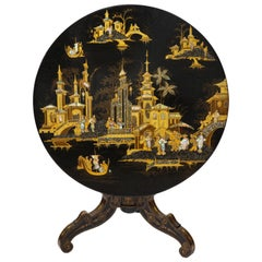 Chinese Export Black Lacquer, Gilt, and Mother of Pearl Center Table