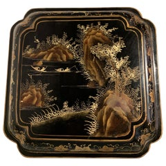 Chinese Export Black Lacquer Gilt Painted Box, Mid 20th Century, China