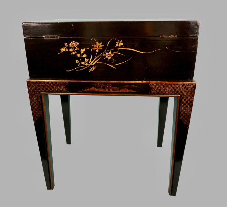 19th Century Chinese Export Black Lacquer Writing or Work Box on Later Custom Stand