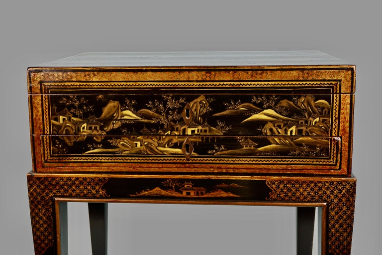 Chinese Export Black Lacquer Writing or Work Box on Later Custom Stand 2