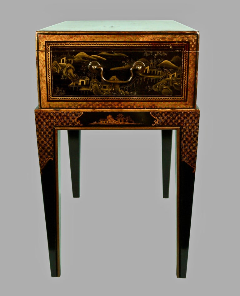Chinese Export Black Lacquer Writing or Work Box on Later Custom Stand 1