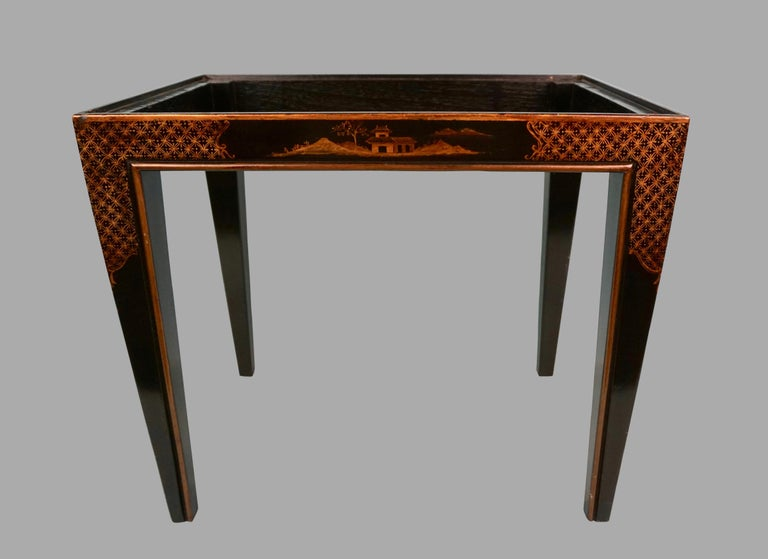Chinese Export Black Lacquer Writing or Work Box on Later Custom Stand 7