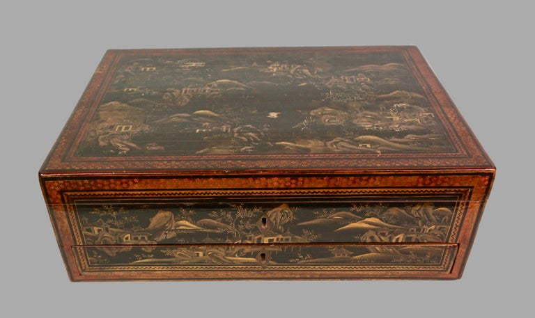 Chinese Export Black Lacquer Writing or Work Box on Later Custom Stand 6