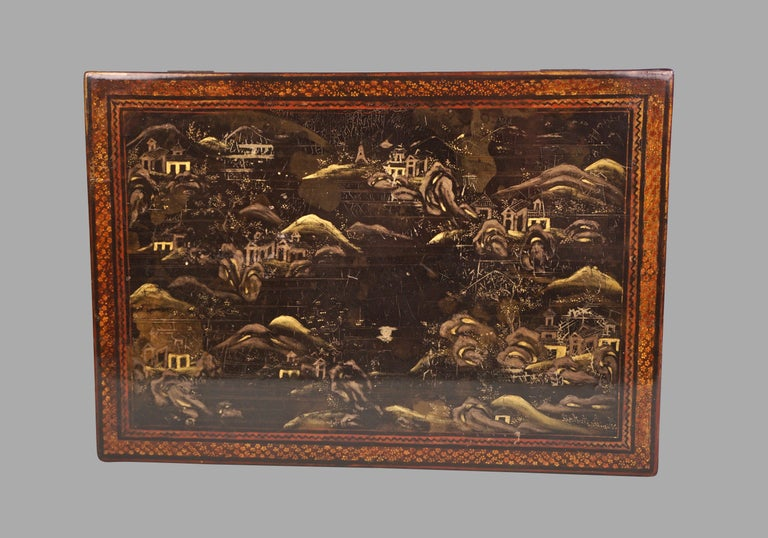 Chinese Export Black Lacquer Writing or Work Box on Later Custom Stand 5